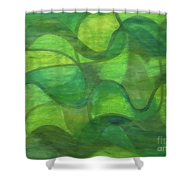 Abstract Green Wave Connection Shower Curtain