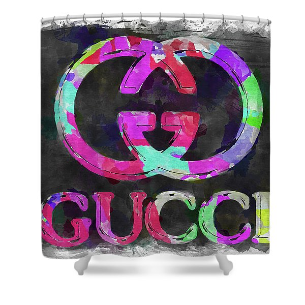 Abstract Gucci Logo Watercolor Shower Curtain