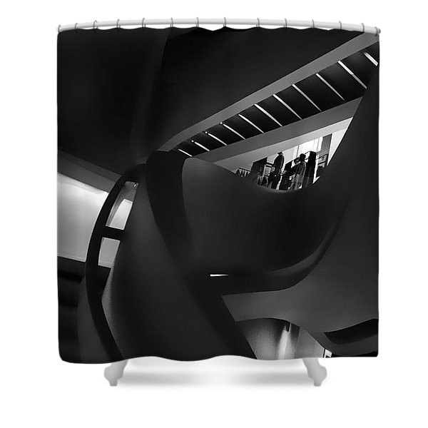 Abstract In Black Shower Curtain