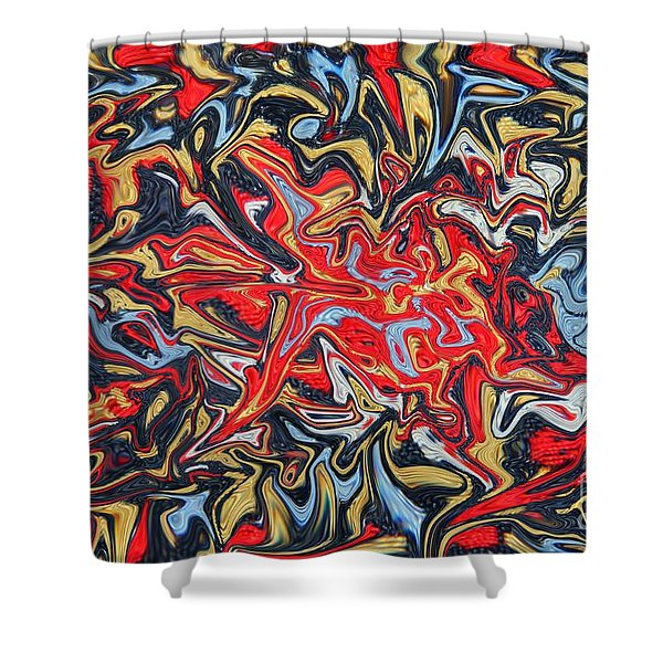 Abstract In Red Shower Curtain