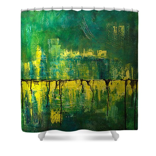 Abstract In Yellow And Green Shower Curtain