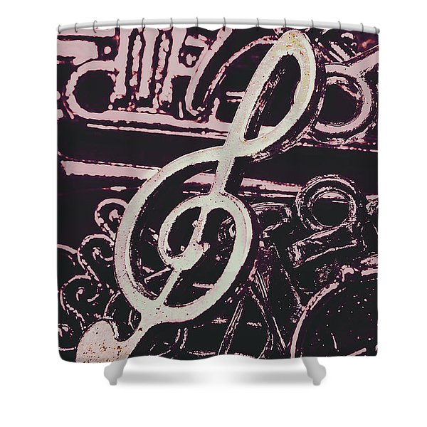 Abstract Instrument Stave Shower Curtain