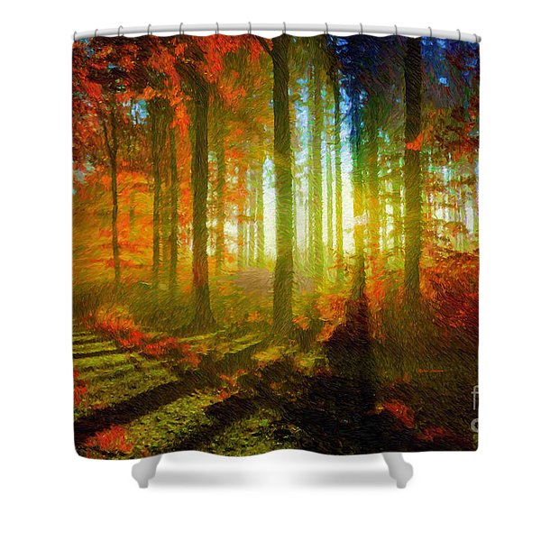 Abstract Landscape 0745 Shower Curtain