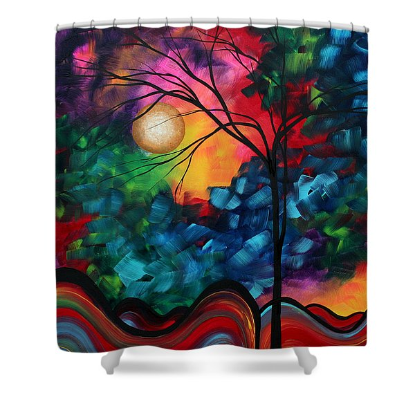 Abstract Landscape Bold Colorful Painting Shower Curtain
