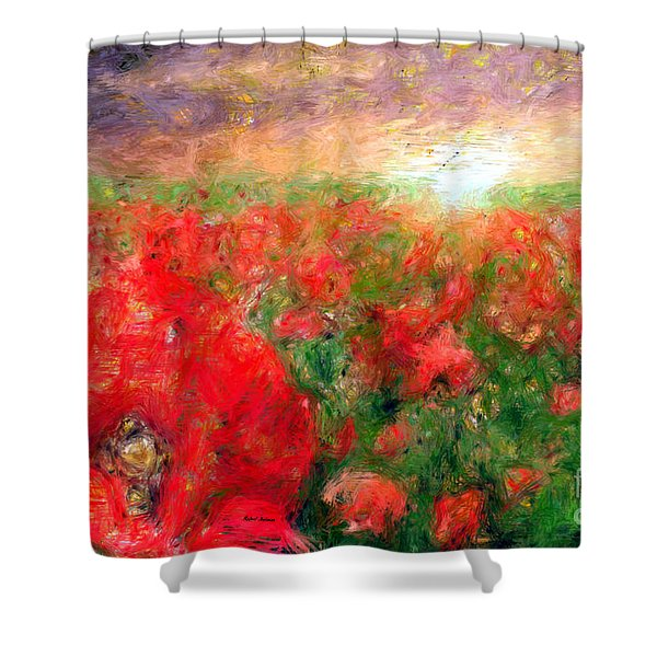 Abstract Landscape Of Red Poppies Shower Curtain