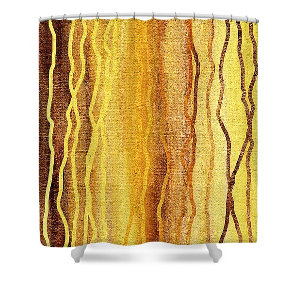 Abstract Lines In Beige Shower Curtain