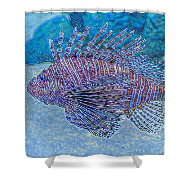 Abstract Lionfish Shower Curtain