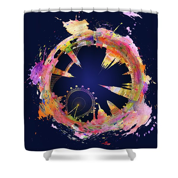 Abstract London Skyline At Night Shower Curtain