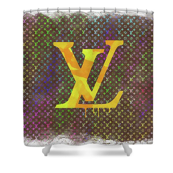 f2e1d2829c Abstract Louis Vuitton Logo Watercolor Shower Curtain