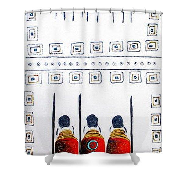 Abstract Masai Warriors Shower Curtain