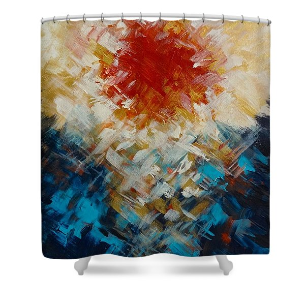 Abstract Blood Moon Shower Curtain