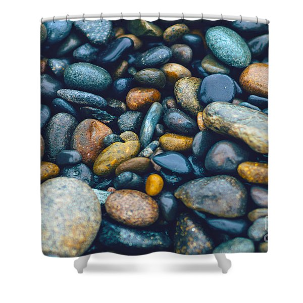 Abstract Nature Tropical Beach Pebbles 923 Blue Shower Curtain