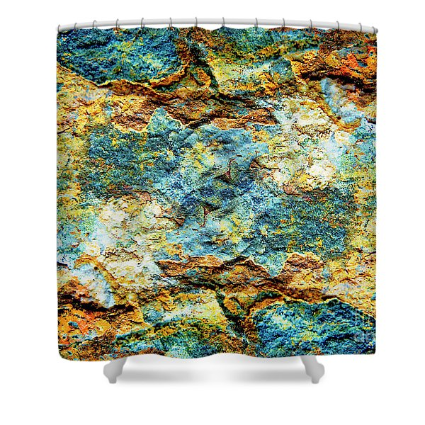 Abstract Nature Tropical Beach Rock Blue Yellow And Orange Macro Photo 472 Shower Curtain