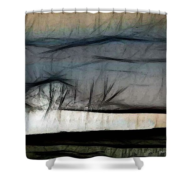 Abstract On River Shower Curtain