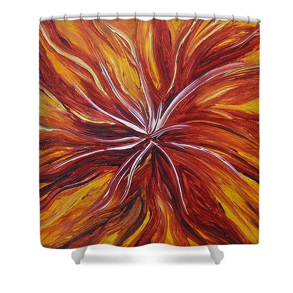 Abstract Orange Flower Shower Curtain