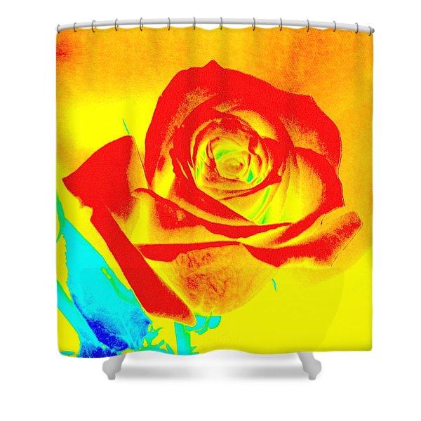 Single Orange Rose Abstract Shower Curtain