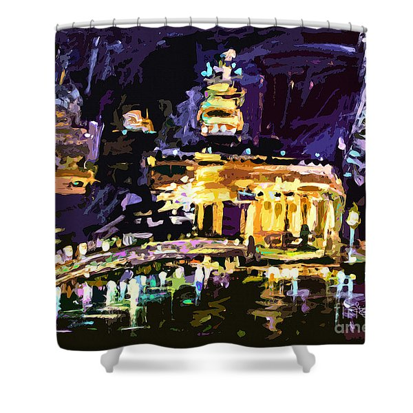 Abstract Paris Night Reflections Shower Curtain