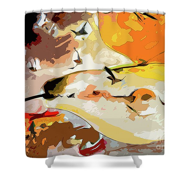 Abstract Pear Mixed Media Shower Curtain