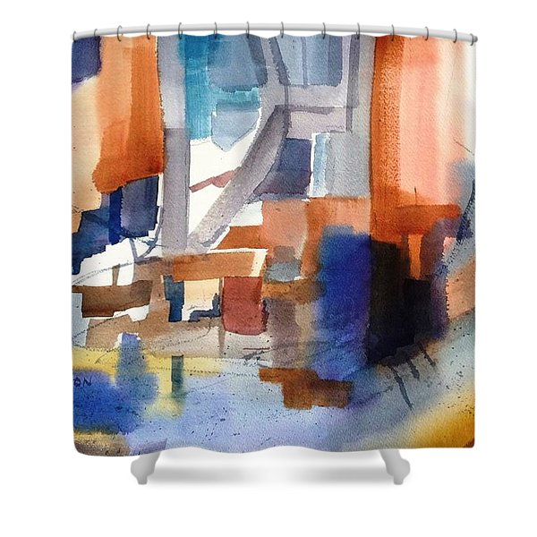 Abstract- Peggy's Cove Shower Curtain