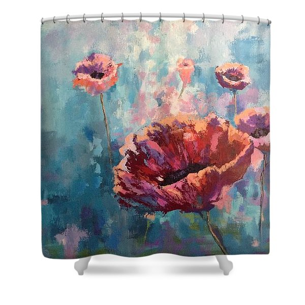Abstract Poppy Shower Curtain