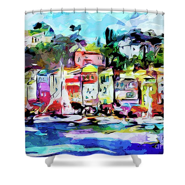 Abstract Portofino Italy Art  Shower Curtain