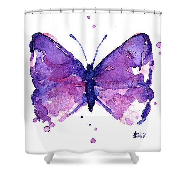 Abstract Purple Butterfly Watercolor Shower Curtain