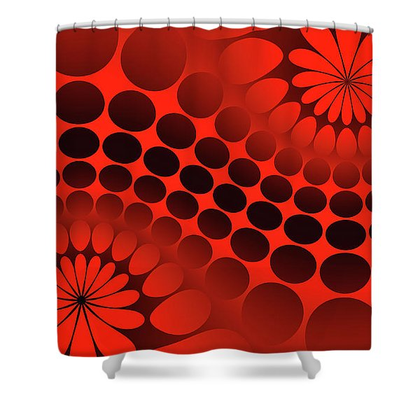 Abstract Red And Black Ornament Shower Curtain