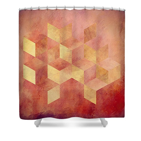 Abstract Red And Gold Geometric Cubes Shower Curtain