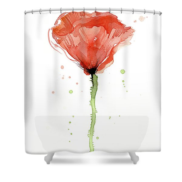 Abstract Red Poppy Watercolor Shower Curtain