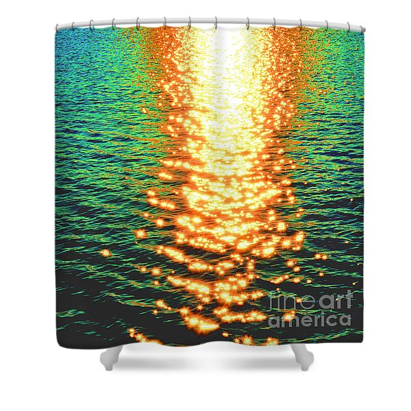Abstract Reflections Digital Painting #5 - Delaware River Series Shower Curtain