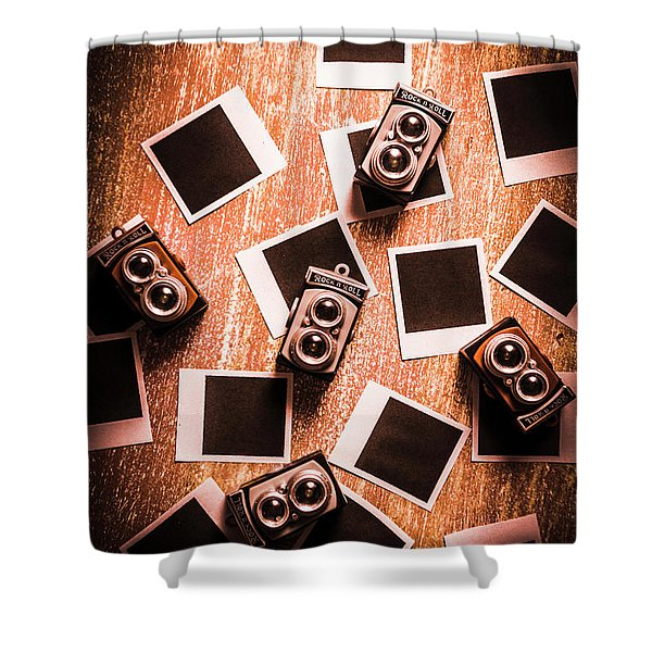 Abstract Retro Camera Background Shower Curtain