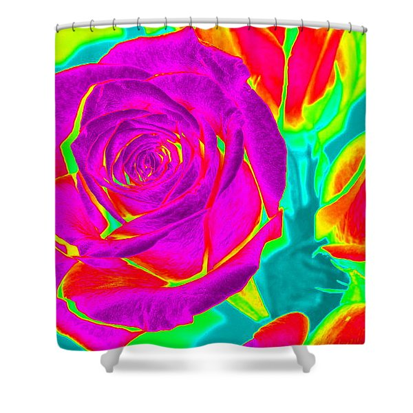 Blooming Roses Abstract Shower Curtain