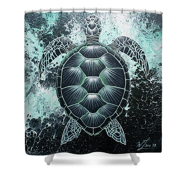 Abstract Sea Turtle Shower Curtain