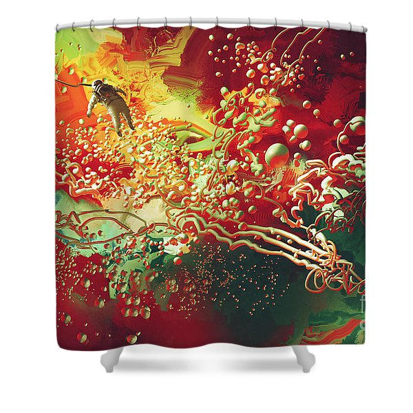 Shower Curtain featuring the painting Abstract Space by Tithi Luadthong
