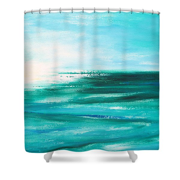 Abstract Sunset In Blue And Green 2 Shower Curtain
