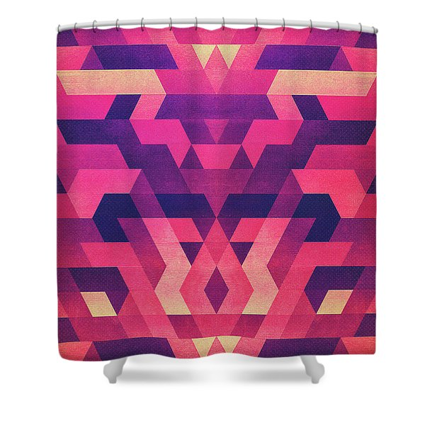 Abstract Symertric Geometric Triangle Texture Pattern Design In Diabolic Magnet Future Red Shower Curtain