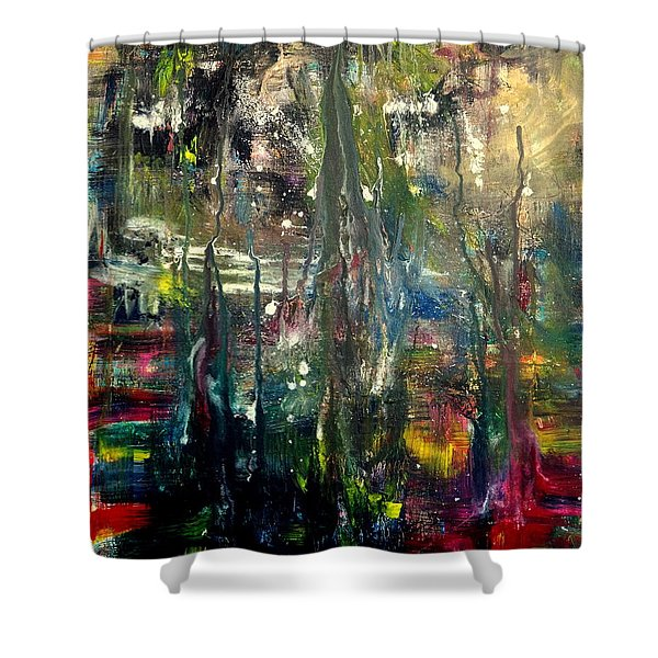 Abstract - The Man Buried In Moon River Shower Curtain