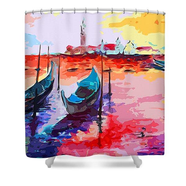 Abstract Venice Gondolas  Shower Curtain