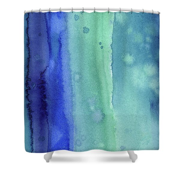 Abstract Vertical Watercolor Aqua Stripes Shower Curtain