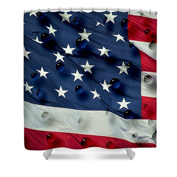 Abstract Water Drops On Usa Flag Shower Curtain