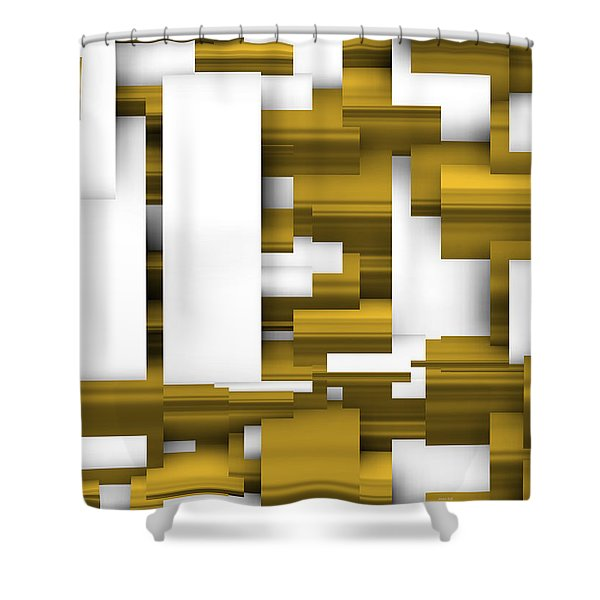 Abstract White And Gold. Shower Curtain