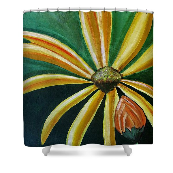 Abstract Yellow Sunflower Art Floral Painting Shower Curtain