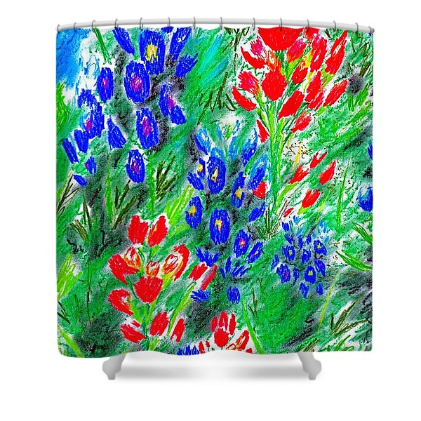 Abstract Wildflowers Shower Curtain