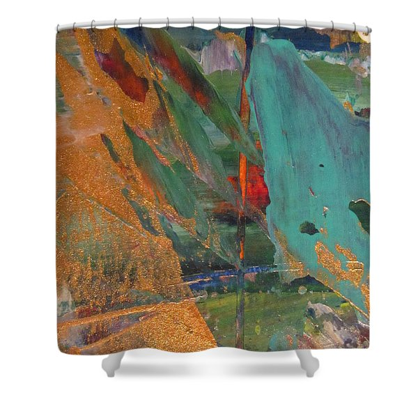 Shower Curtain featuring the painting Abstract With Gold - Close Up 7 by Anita Burgermeister