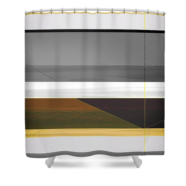 Abstract Yellow And Grey  Shower Curtain