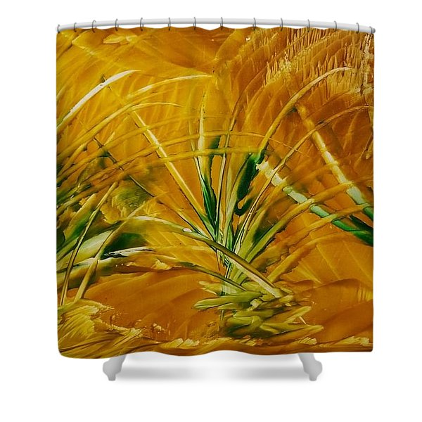 Abstract Yellow, Green Fields   Shower Curtain