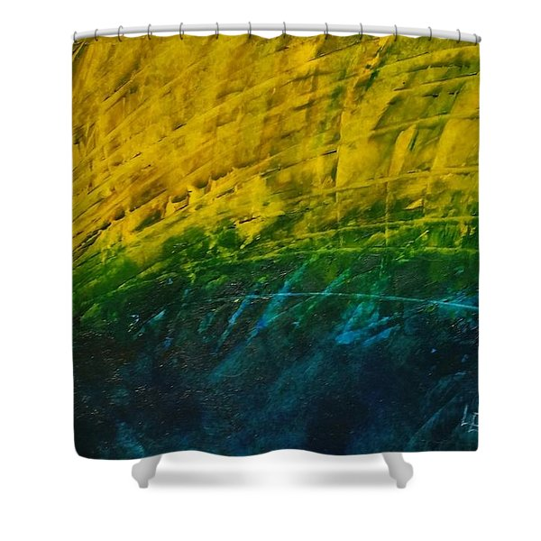 Abstract Yellow, Green With Dark Blue.   Shower Curtain