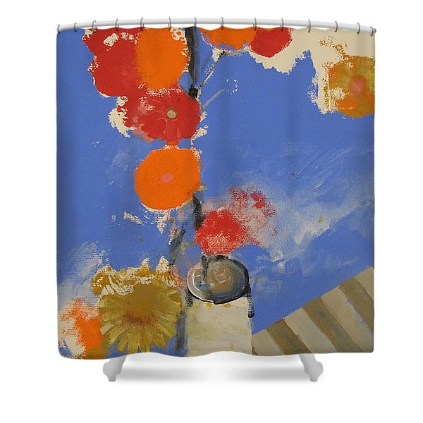 Shower Curtain featuring the painting Abstracted Flowers In Ceramic Vase  by Cliff Spohn