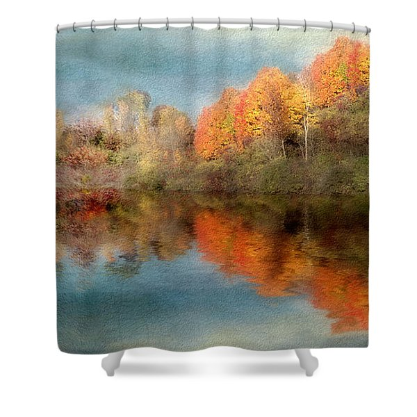 Accross The Lake In Autumn Shower Curtain