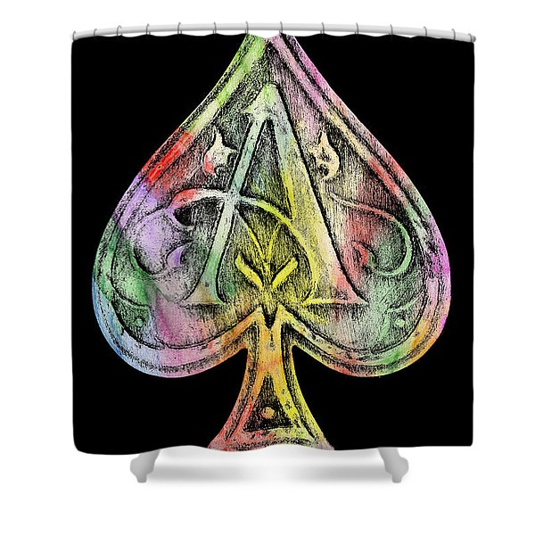 Ace Of Spades Champagne Shower Curtain